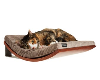 Wall Mounted Cat Bed Cats Shelves Soft Cappuccino