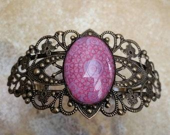 Cuff Bracelet, Pink Bracelet, Glass Dome Bracelet, Australian Made, Oval Dome, Ladies Gift, Filigree Bracelet, Cameo, Statement Bracelet