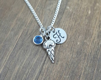 Personalized Ice Cream Cone Necklace - Hand stamped Monogram Ice Cream Necklace - Initial, Birthstone Necklace