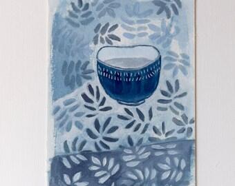Blue bowl, original painting, gouache on paper -Still life - 15 x 10 cm