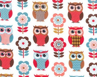 Autumn Owl Print Poly Cotton Fabric - by the Metre