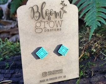 Earrings - Diamond Square Studs