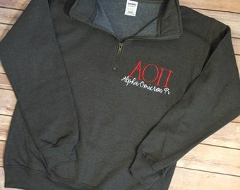 aopi quarter zip sweatshirt greek letters pullover aoii alpha omicron pi aoii sorority 14 zip up aopi pullover