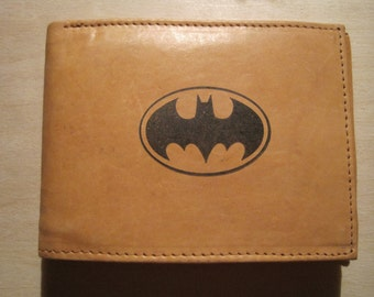 "Mankind Wallets Men's Leather RFID Blocking Billfold w/ ""Batman/Bat Signal"" Image-Makes a Great Gift!"