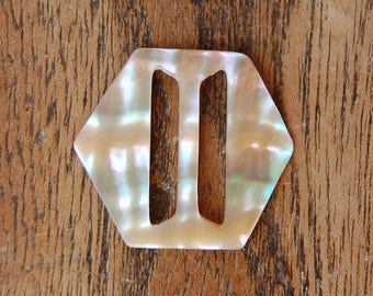 1920's Vintage MOP Pearl Shell BELT Buckle Hexagon & Rectangle - Small