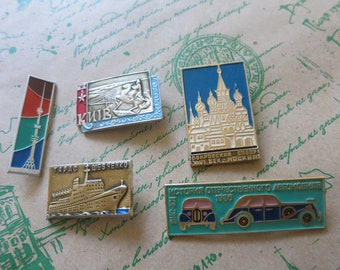 Metal pins, Badges vintage, Collectible badges, pin collection, lot of badges, pinback button, Kids brooch, Children gift,  car pin