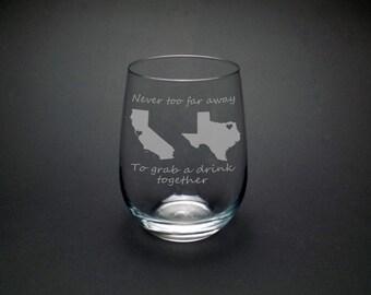 Long Distance Best Friend Glass - Best Friend Gift - Long Distance Friend Gift - Moving Gift - Graduation Gift - Best Friend Christmas