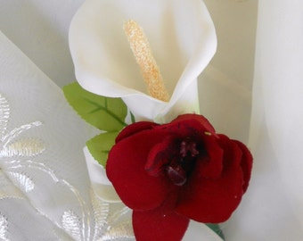 Set of 6 boutonniers  calla lilie  and orchids we have this boutonniers in other colors