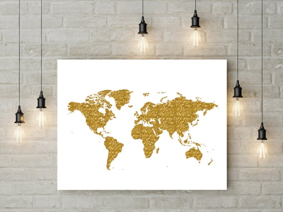 Gold Glitter Wall Decor : Gold glitter map printable wall art large world poster