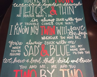 Twin Saying Hand-Painted Wall Hanging Art Sign, Custom Quote on Canvas