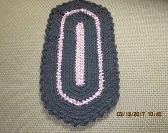Crocheted Rag Rug Gray, Pink JW161