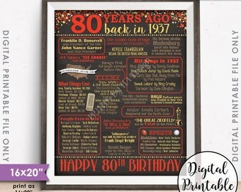 "80th Birthday Gift 1937 Poster, 80 Years USA Flashback Instant Download 8x10/16x20"" Born in 1937 Birth 80th B-day Chalkboard Style Printable"