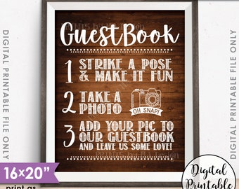 "Guestbook Photo Sign, Wedding Guestbook Sign, Guest Book Photo Wedding Sign, 8x10/16x20"" Rustic Wood Style Printable Instant Download"