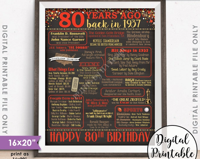 """80th Birthday Gift 1937 Poster, 80 Years USA Flashback Instant Download 8x10/16x20"""" Born in 1937 Birth 80th B-day Chalkboard Style Printable"""