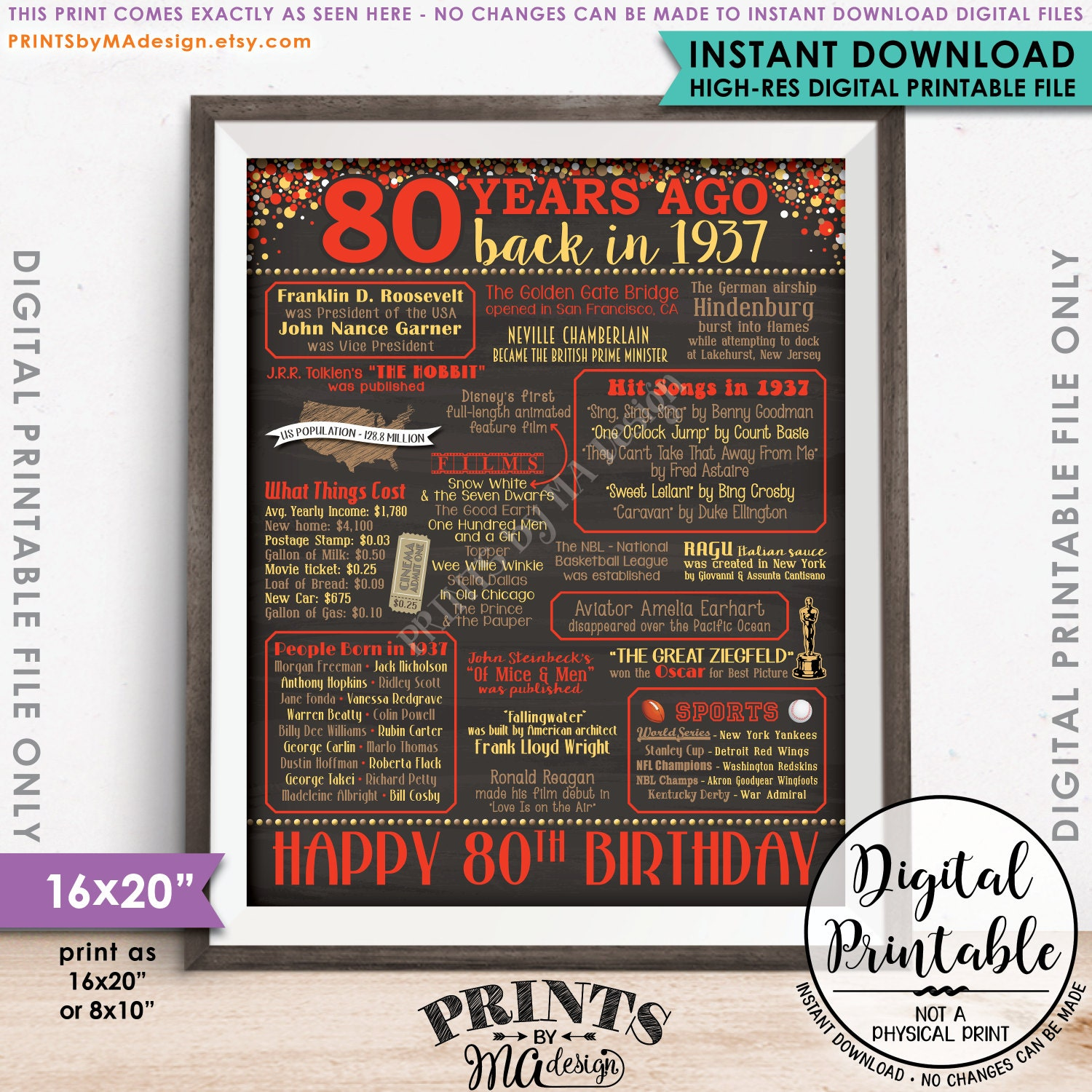 Design a 16x20 poster - 80th Birthday Gift 1937 Poster 80 Years Usa Flashback Instant Download 8x10 16x20 Born In 1937 Birth 80th B Day Chalkboard Style Printable