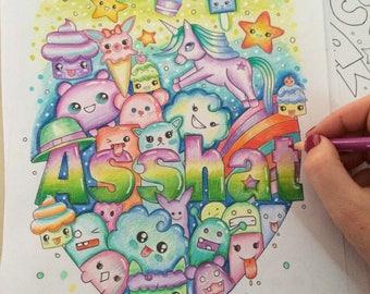 Sweary coloring book - unicorn sweary coloring book