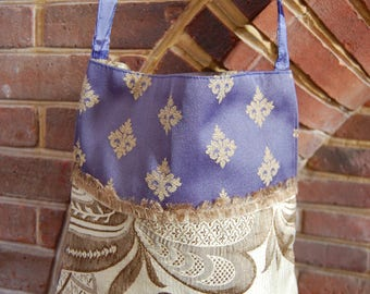 Blue and Gold Steampunk bag, Boho Bag, Renaissance Bag