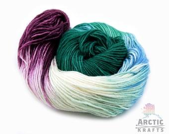 Frozen forest, hand dyed yarn. DK weight 1ply superwash merino/silk, merino/nylon, merino/tussah silk.