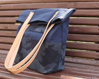 Navy Blue Summer Tote Bag ,MacBook Pro bag,  College bag, Gift for women