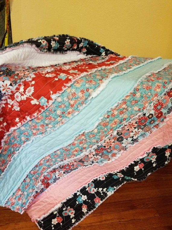 Strip Pattern Rag Quilt Asian Patterned Fabric