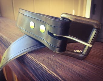 Hand Stamped Leather Belts with Buckle