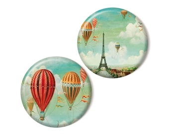 2 magnets, Eiffel tower & Hot air balloons