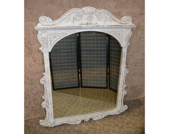 Vintage Ornate Solid Oak Romantic Shabby Distressed Wall Mirror