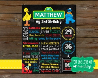 Sesame Street Birthday Chalkboard Sign, Sesame Street Birthday Chalkboard, 1st Birthday Board
