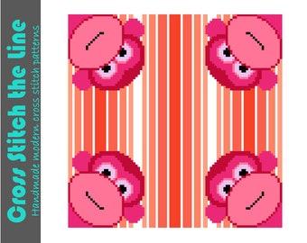 Cheeky little monkeys. Modern cross stitch pattern ideal for the nursery. Contemporary cross stitch design.