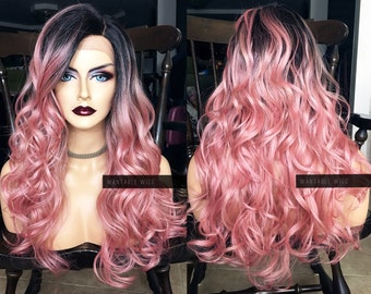 Pastel Pink Lace Front Wig // Long Ombre Wig + Heat OK // Curly Wavy Ombre Dark Roots & Skin Part // Luka Vocaloid Cosplay