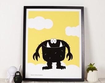 Silly Monster Yellow kids room print, wall art print, playroom wall print