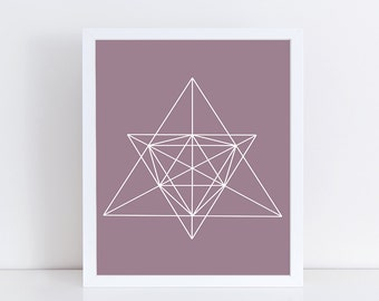 SALE - Minimalist Geometric Art, Abstract Linear Print, Purple & White Wall Decor, Modern Minimalist Poster, Printable Wall Art