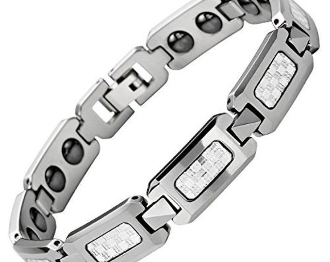 9 inch Magnetic White Carbon Fibre Tungsten Carbide Men Unisex Bracelet