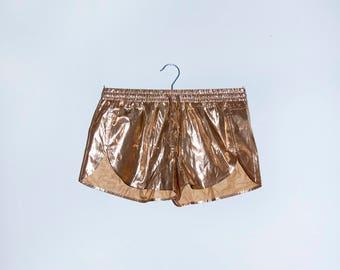 Golden Shorts 80s Slacks Disco Kitsch Knickers 70s Tennis Trousers