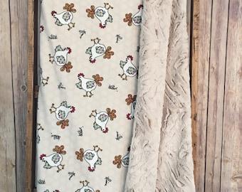 Baby Boy Blanket, Minky Baby Boy Blanket~ Barnyard Crib Bedding~ Rooster~ Farm Animals Nursery~ Baby Boy Gift, Country