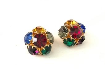 Vintage Multi Colored Rhinestone Crystal Flower Clip On Earrings