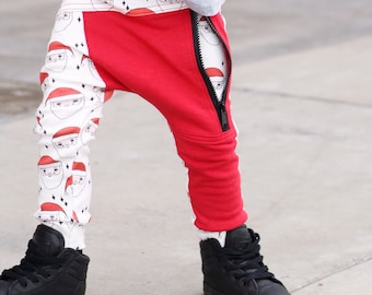 Hipster baby boy clothes / Trendy toddler boy christmas leggings /Trendy baby boy outfit/Hipster toddler boy clothes /Hipster santa leggings