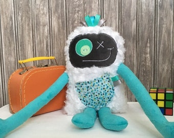 Hug Monster, handmade plush toy,  turquoise and grey with dots pocket,happy friendly monster for children,unique  birthday gift, ready to go