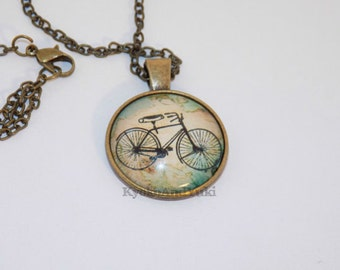 Bronze Antique Alloy  Bicycle Resin Pendant Charm Necklace