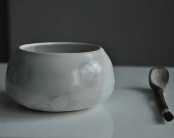 New White and Purple Serving Bowl