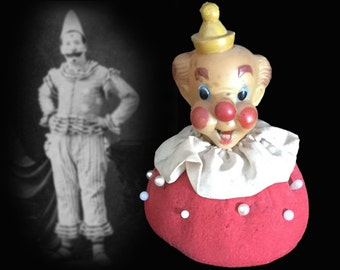 Comical Vintage Bozo Circus Clown Pin Cushion, Circa 1940s