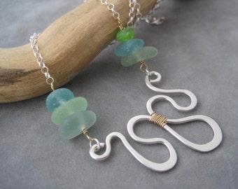 Sea Glass Jewelry - Hammered Silver - Multi Color Seaglass - Beach Glass - Silver Wave -  Collar - Summer Style - Aqua - Blue- Green