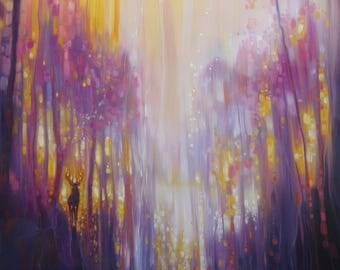 LARGE ORIGINAL Oil Painting - Fabian Waits - semi abstract landscape in yellow and purple