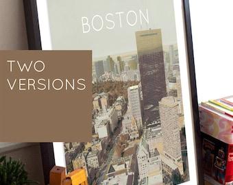 Boston, Massachusetts Illustration Poster 11x17 18x24 24x36