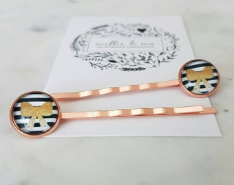 Copper and glass cabochon hair slides