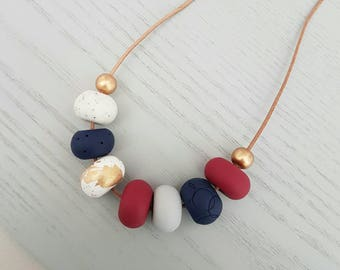 Red polymer clay necklace/ red and gold/ necklace/ polymer clay jewellery/ clay jewelry/ beaded necklace/ red beads/ gift for her