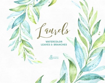 Laurels. Watercolor separate elements, leaves and branches. Soft green, greenery, wedding invitation, foliage, cards, clip art, olive, leaf