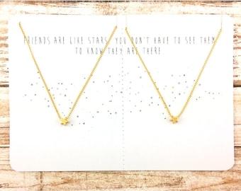 Tiny Star Necklace Set | Friendship Jewelry | Minimalist Necklace | Delicate Star | Dainty Necklace | Jewelry Gift | Best Friend Gift | JUNA