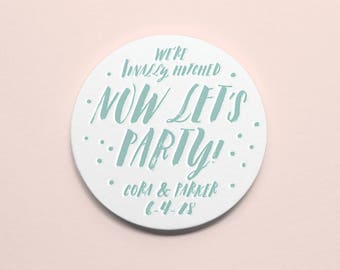 Custom Letterpress Coasters | Let's Party | Set of 100