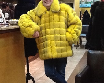 Mens Canary yellow fox jacket